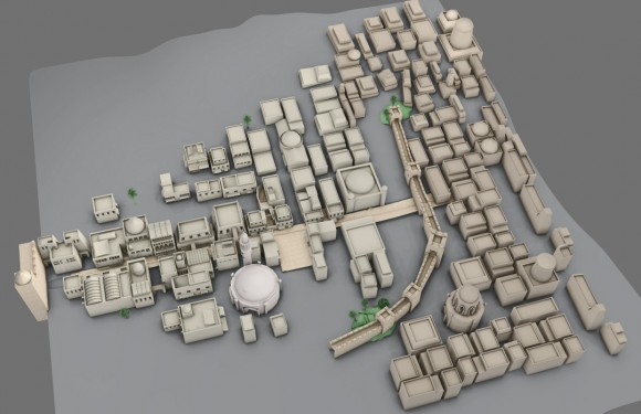 Overhead view of the low-poly medina