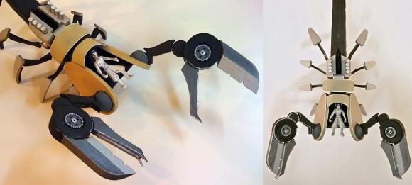 Two photos of the cardboard Scorpion mecha